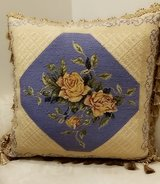 large Decorative Pillow with Yellow Roses in Oswego, Illinois