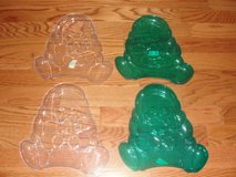 "CLEAR & GREEN PLASTIC ""CHRISTMAS SANTA"" SERVING TRAYS in Camp Lejeune, North Carolina"