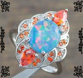 NEW - Light Blue Fire Opal and Orange Garnet Ring - Size 7 in Alamogordo, New Mexico