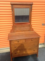 Oak Roll Top Carved Dresser W/Mirror in Cherry Point, North Carolina