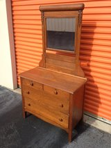 Antique Oak Roll Top Carved Dresser W/Mirror in Cherry Point, North Carolina