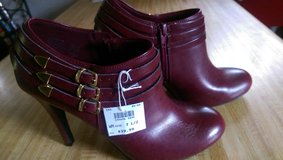 Stileto Shoes, burgandy, buckle strap, new still has tags. in Baytown, Texas