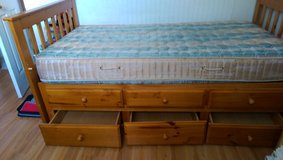 Twin Bed, Bunk Beds, all wood 3 drawers missing one piece 2 x 6 all other parts ok in Baytown, Texas