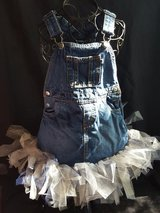 Tutu Overall Dress - blue, white & gold in Spring, Texas