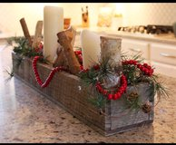 Wood pallet center piece farm style dining table display in Camp Lejeune, North Carolina