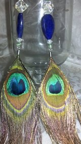 1 OF A KIND PEACOCK FEATHER STERLING Earrings 6/18 in Perry, Georgia