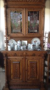 beautiful Renaissance style dining room hutch with stained glass in Ansbach, Germany