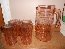 Vintage France Swirl Depression Pitcher and Glasses in Elgin, Illinois