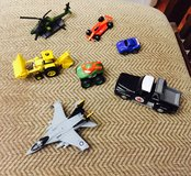 Matchbox Texaco truck along with other vehicles, helicopter, and plane in Aurora, Illinois