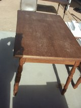 oak table in Yucca Valley, California