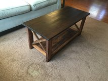 Wood X console coffee table front room in Camp Lejeune, North Carolina