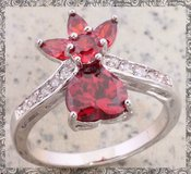 New - Garnet and Zircon Flower/Heart Ring Size 6 1/2 in Alamogordo, New Mexico