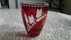 Red Glass Vase in Plainfield, Illinois