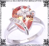 New - Morganite (Light Orange) Ring with Flower Overlay Sizes 6, 7 and 8 in Alamogordo, New Mexico