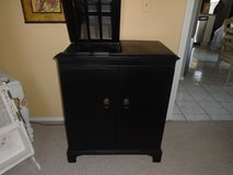 Shabby chic black bar cabinet in Naperville, Illinois