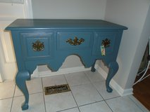 Tealy blue accent cabinet in Naperville, Illinois