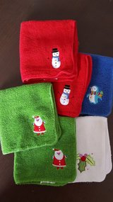 Christmas / winter washcloths set of 6. Santa , snowman , penguin  , holly . in Morris, Illinois