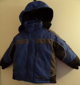 Boys Size 3 Coat with Zip Out Liner Black/Blue & Removable Hood in Kingwood, Texas