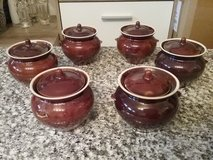 Brown pottery pots with lids in Ramstein, Germany