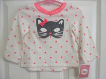 New with Tag! Toddler Baby Girl 12M Cute Pink Shirt with Cat Face and Bow in Plainfield, Illinois