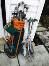 Golf Clubs w/Cover, Bag, and Cart Stand in Bolingbrook, Illinois