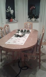 solid wood dining table with 6 chairs in Ramstein, Germany