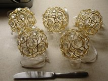 """SET OF 5 GOLDEN WIRE """"CLEAR"""" BEAD CHRISTMAS ORNAMENTS in Camp Lejeune, North Carolina"""