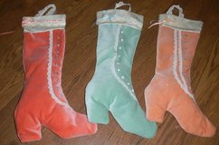 3 Handmade Victorian Christmas Stocking Boot Shoe Lot Velour Lace Teal Peach in Kingwood, Texas