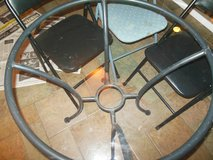 Round Rod Iron/Glass table w 4rod iron Chairs 47 by 47 round in Algonquin, Illinois