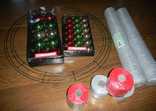 """NEW Mesh Ribbon Wreath Materials Metallic Silver & Red + 24"""" Wire Frame in Houston, Texas"""
