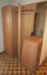 Solid Wood Entryway Set with hanging storage and mirror in Ramstein, Germany