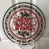 "13"" BIG Christmas Glass Platter with Stand in Joliet, Illinois"