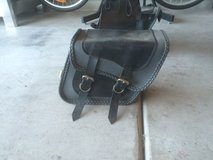 Black and gray leather saddlebags in Fort Bliss, Texas