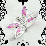 New Pink Fire Opal Butterfly Ring - Size 6 1/2 in Alamogordo, New Mexico