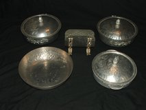 8 Piece Everlast Hammered Aluminum Serving Dish Set, Floral Design in Oswego, Illinois