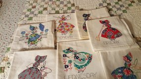 Hand embroidered 7 days of the week kitchen towels in St. Charles, Illinois