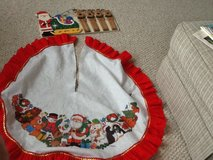Tree skirt & Wood Santa Plaque in Joliet, Illinois