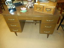 Vintage Mid Century Modern Wood Grain Formica Small Desk in Naperville, Illinois