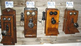 Three Antique Oak Wall Phones in Vista, California
