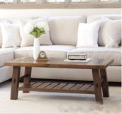 Wood coffee table solid wood shelf in Camp Lejeune, North Carolina