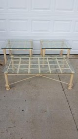 Square Glass / Iron / 3 Piece Coffee & End Table Set in Fort Campbell, Kentucky