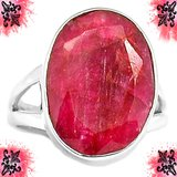 New - Ruby Quartz 925 Sterling Silver Ring - Size 6 1/2 in Alamogordo, New Mexico