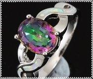 NEW - Rainbow Topaz and White Fire Opal Silver Ring - Size 7 in Alamogordo, New Mexico