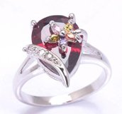 NEW - Garnet Pear Shape with Multicolor Flower Overlay Ring - Sizes 8 and 9 in Alamogordo, New Mexico