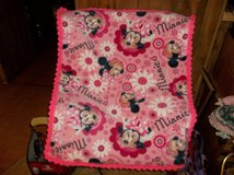 Minnie Mouse Fleece Baby Blanket with Crocheted Edging in Belleville, Illinois