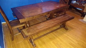 NICE SOLID PINE WOOD HANDMADE DINING TABLE SET! BENCHES AND CHAIRS!! in Summerville, South Carolina
