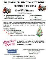 9th Annual Cruisin Texas Toy Drive THIS SATURDAY in Baytown, Texas