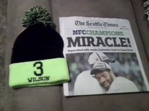 "Seahawks 2015 NFC Championship ""MIRACLE"" Seattle Times Newspaper & #3 Wilson Hat in Tacoma, Washington"