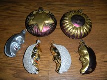 Celestial Sun Moon & Stars Glass Christmas Ornament Lot in Houston, Texas