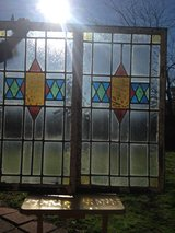 English Leaded Stain Glass Window's Pair in  Frame in Camp Lejeune, North Carolina